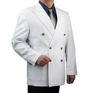 Mens Classic Fit Double-Breasted Blazer-White